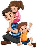 Padre con la hija y el hijo ilustración del vector