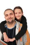 Padre con la presentación de la hija Imagen de archivo libre de regalías