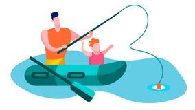 Padre con la tarjeta feliz plana de la familia de la pesca del hijo libre illustration