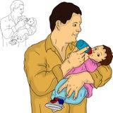 Padre con su bebé stock de ilustración