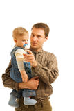 Padre con su niño Imágenes de archivo libres de regalías
