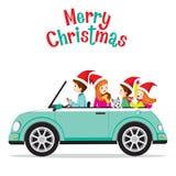 Padre Driving Car With su familia libre illustration