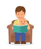 Padre e bambino che si siedono in una poltrona che legge un libro Lettura del bambino prima di ora di andare a letto Fotografia Stock