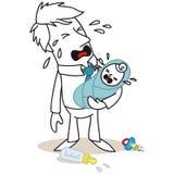 Padre e bambino entrambi che gridano Immagine Stock