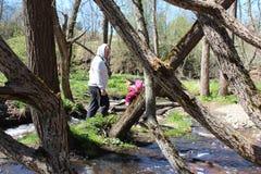 Padre e figlia che camminano vicino al fiume della foresta immagine stock libera da diritti