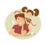 Padre e figlia felici Illustrazione di vettore Illustrazione di Stock
