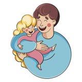 Padre e figlia Un uomo che tiene una ragazza royalty illustrazione gratis