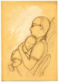 Padre e figlio - abbozzo Fotografia Stock Libera da Diritti