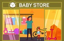 Padre e figlio al negozio del bambino con gli elementi dei bambini royalty illustrazione gratis