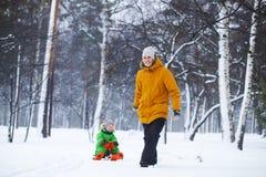 Padre e figlio che sledding nel parco di inverno Immagini Stock Libere da Diritti