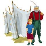 Padre e figlio con l'attrezzatura di pesca Fotografia Stock