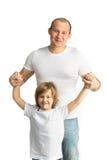 Padre e figlio felici Isolato su bianco Fotografia Stock Libera da Diritti