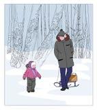 Padre e figlio su una camminata nel park Fotografie Stock Libere da Diritti