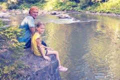 Padre e hija felices Imagen de archivo