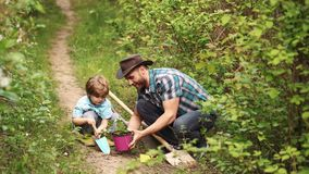 Padre e hijo del concepto de la ecolog?a Granjero del padre y del hijo que planta en la granja con el fondo del campo metrajes