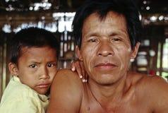 Padre e hijo, el Amazonas peruano Fotografía de archivo libre de regalías