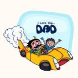 Padre e hijo en el coche para el día de padre feliz