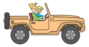 Padre e hijo en la ilustración del jeep