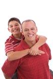 Padre e hijo hispánicos felices Imagen de archivo libre de regalías