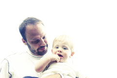 Padre e hijo infantil Fotos de archivo