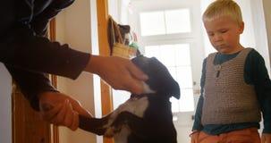 Padre e hijo que acarician su perro casero en casa 4k