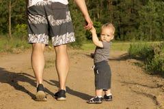 Padre e hijo que caminan en el bosque el día de verano Pequeño niño que lleva a cabo la mano de un hombre Visión posterior Imagen de archivo