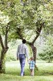 Padre e hijo que caminan en naturaleza imagen de archivo