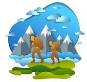 Padre e hijo que caminan a la naturaleza con la cordillera, los hombres activos, paternidad y el hijo del adolescente que crece m libre illustration