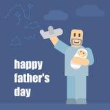 Padre e hijo que juegan en los aeroplanos Un buen padre pasa tiempo con el niño Imágenes de archivo libres de regalías