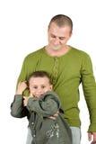 Padre e hijo que se divierten, aislada en blanco Fotografía de archivo libre de regalías