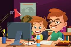 Padre e hijo que trabajan en un ordenador ilustración del vector