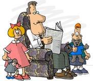 Padre ed i suoi bambini Fotografie Stock