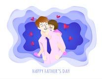 Padre felice che ha buon tempo con sua figlia cara, effetto di carta di arte per l'elemento di progettazione Illustrazione di vet Immagini Stock Libere da Diritti