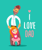 Padre felice con la figlia che sta sulle sue gambe Immagini Stock Libere da Diritti