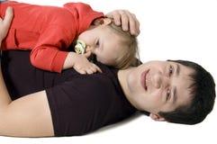 Padre felice con una figlia Immagini Stock Libere da Diritti