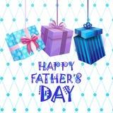 Padre felice Day Family Holiday, cartolina d'auguri attuale della scatola Fotografia Stock