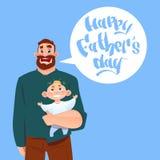 Padre felice Day Family Holiday, cartolina d'auguri del figlio infantile della tenuta del papà Fotografia Stock