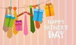 Padre felice Day Family Holiday, cartolina d'auguri della cravatta Immagine Stock Libera da Diritti