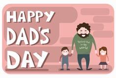 Padre felice Day Family Holiday, figlio della tenuta del papà dell'uomo e mano della figlia Immagini Stock