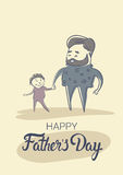 Padre felice Day Family Holiday, mano del figlio della tenuta del papà dell'uomo Immagine Stock Libera da Diritti