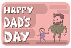 Padre felice Day Family Holiday, mano del figlio della tenuta del papà dell'uomo Fotografia Stock Libera da Diritti