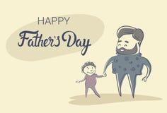 Padre felice Day Family Holiday, mano del figlio della tenuta del papà dell'uomo Fotografia Stock