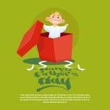 Padre felice Day Family Holiday, piccolo figlio nella cartolina d'auguri attuale della scatola Immagine Stock