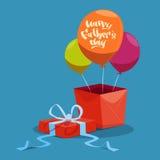 Padre felice Day Family Holiday, scatola attuale e cartolina d'auguri dell'aerostato Fotografie Stock Libere da Diritti