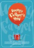Padre felice Day Family Holiday, scatola attuale e cartolina d'auguri dell'aerostato Fotografie Stock