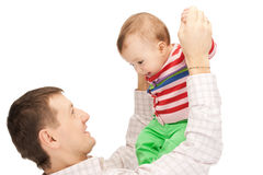 Padre feliz con el bebé adorable Imagen de archivo libre de regalías