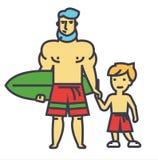 Padre feliz con el hijo el vacaciones con concepto del tablero que practica surf Ilustración del Vector