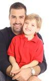 Padre feliz e hijo aislados en blanco Imagenes de archivo
