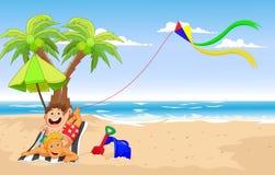 Padre feliz e hijo que juegan la cometa en la playa ilustración del vector