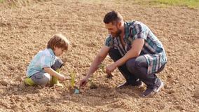 Padre feliz e hijo que plantan en campo de la primavera Herramientas de jard?n Eco que vive - granjero del padre y del hijo que p almacen de video
